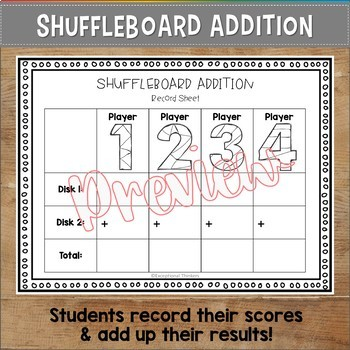 Shuffleboard Addition | Active Learning Math Game | FREEBIE