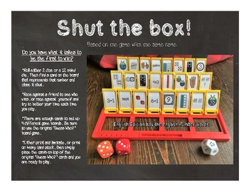 Shut the Box-English Number Words