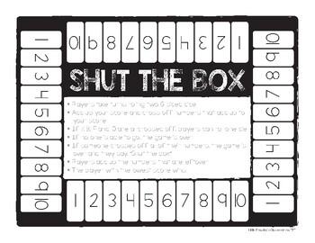 Shut the Box Printable Board Game