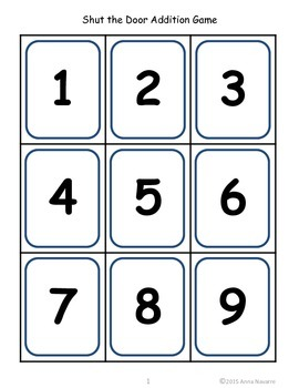 Shut the Door Addition Game - FREEBIE!
