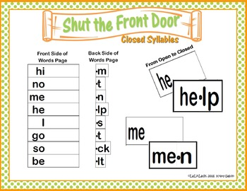 Teaching Closed Syllables ~ Multisensory Reading Orton Gillingham