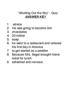 """""""Shutting Out the Sky"""" - story quiz"""