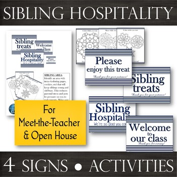 Sibling Hospitality: Navy Signs & Activities for Parent Meetings -Open House