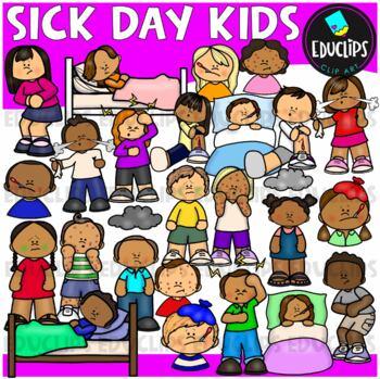 Sick Day Kids Clip Art Set {Educlips Clipart}