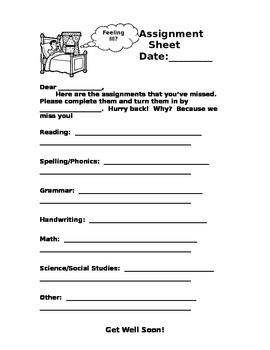 Sick Kid Homework Sheet