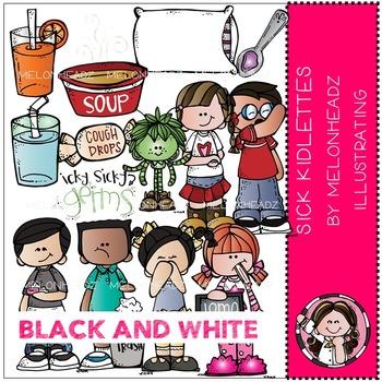 Sick Kidlettes clip art -  BLACK AND WHITE- by Melonheadz