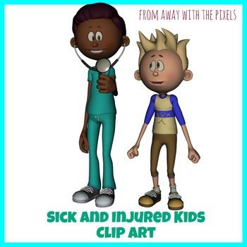 Sick Kids Clip Art - Now including blacklines!
