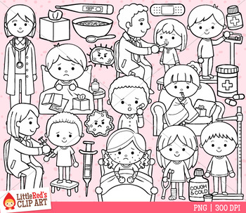 Sick Kids Doctor Clip Art