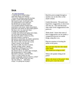 Sick and Somebody Has To - Poems for Figurative Language