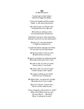 Sick by Shel Silverstein Poem and Questions by Karen A ...