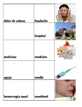 Sickness and Health Word Find w/ pictures/words in English/Spanish