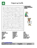 Sickness and Health Word Find w/ pictures/words in English