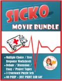 Sicko Movie Worksheets, Puzzles, and Essay/Debate/Research Prompts BUNDLE