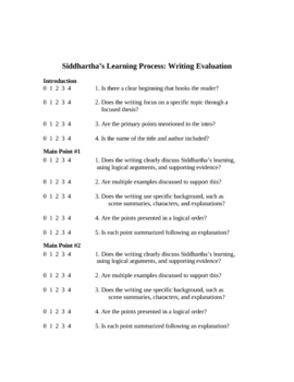 Siddhartha Analytical Essay Unit: Learning Process in Hesse's Novel