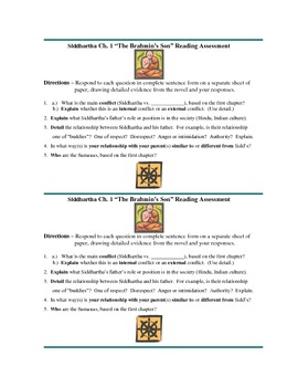 Siddhartha Ch  1 Common Core Reading Assessment