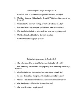 Siddhartha Chapter 6 Quiz and KEY