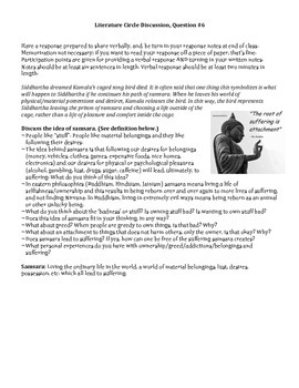 Siddhartha Literature Circle Discussion Question 6