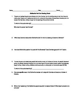 Siddhartha Part One Reading Quiz