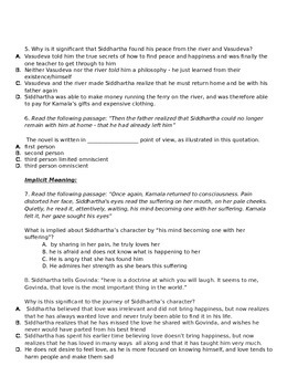 Siddhartha Quiz Chapters 9-12 (Linked to Common Core Standards)