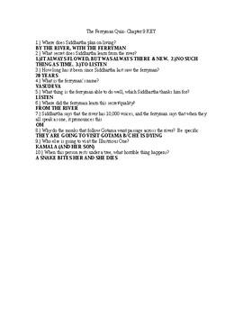 Siddhartha by Herman Hess Chapter 9 Quiz and KEY