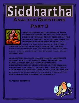 Siddhartha p. 101-152 (Part 3) Analysis Questions