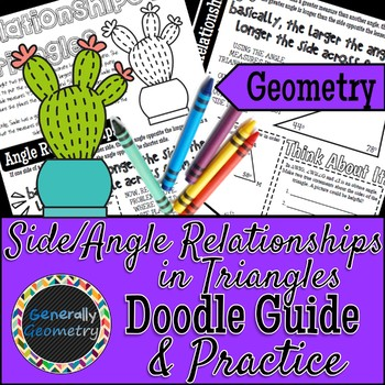 Side & Angle Relationships in Triangles Doodle Notes & Practice Worksheet