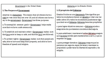 Side-by-side English & Spanish Government notes