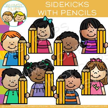 Sidekicks with Pencils Writing Clip Art