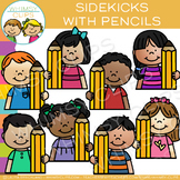 Sidekicks with Pencils Writing Clip Art
