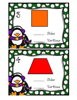 2-D Shapes Sides and Vertices- Winter Themed
