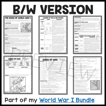 World War I- Sides- Allied vs. Central Powers Reading Comprehension Worksheet