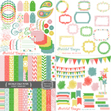 Sidewalk Chalk Digital Paper and Clip Art Kit Commercial Use