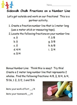 Sidewalk Chalk Fractions on a Number Line