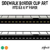 "Sidewalk border clipart | Fits 8.5"" Paper"