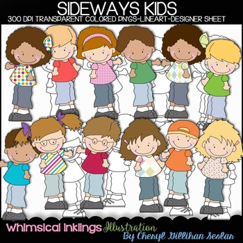 Sideways Kids Clipart Collection