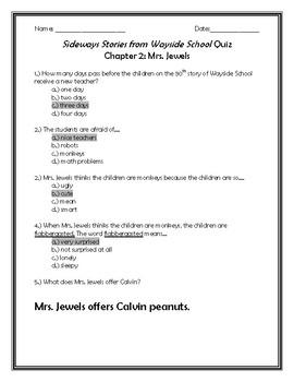 Sideways Stories From Wayside School Quiz Chapter 2: Mrs. Jewels