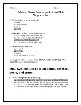Sideways Stories From Wayside School Quiz Chapter 3: Joe