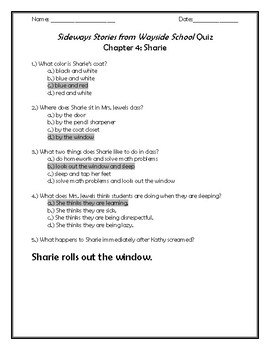 Sideways Stories From Wayside School Quiz Chapter 4: Sharie