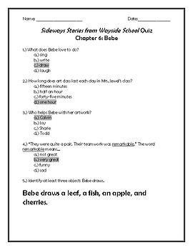 Sideways Stories From Wayside School Quiz Chapter 6: Bebe