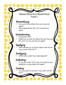 Sideways Stories from Wayside School: Bloom's Taxonomy Questions!