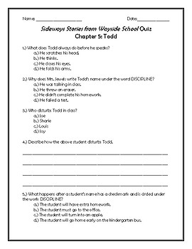 Sideways Stories from Wayside School Quiz Chapter 5: Todd