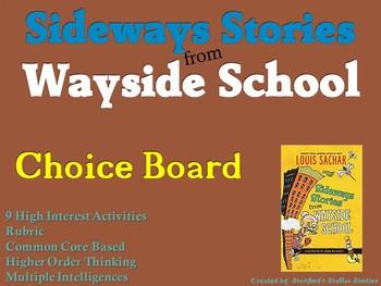 Sideways Stories from Wayside School Choice Board Novel Study Menu Project