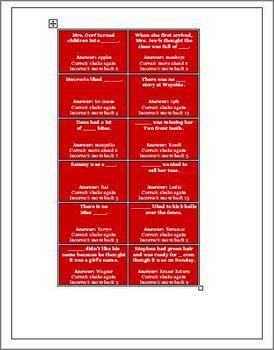 Sideways Stories from Wayside School Game Board Activity