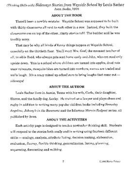 Sideways Stories from Wayside School Literature Guide