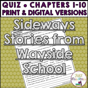 Sideways Stories from Wayside School Quiz 1 (Ch. 1-10)