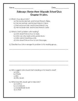 Sideways Stories from Wayside School Quiz Chapter 17: John