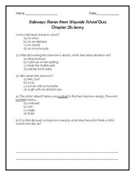 Sideways Stories from Wayside School Quiz Chapter 25: Jenny