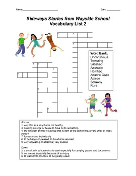 Sideways Stories from Wayside School Vocabulary Crossword Puzzles