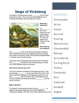 Siege of Vicksburg- CLOZE Reading