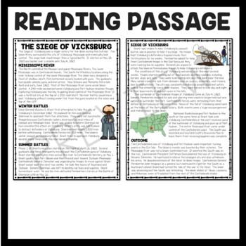 Siege of Vicksburg Reading Comprehension Worksheet, Civil War
